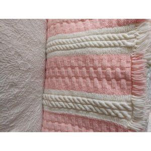 Pink and white afghan